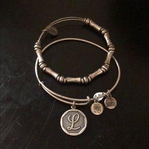"Alex and Ani charm bracelet set with ""L"" charm"